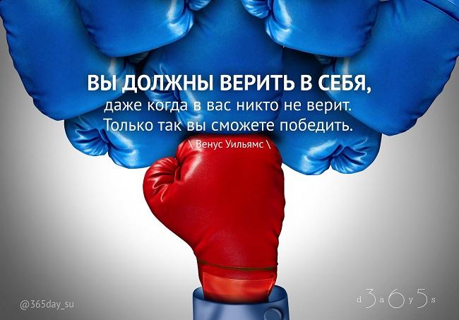 Вы должны верить в себя, даже когда в вас никто не верит. Только тогда вы сможете победить. Венус Уильямс.