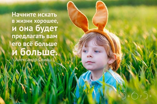 Начните искать в жизни хорошее, и она будет предлагать вам его всё больше и больше. Александр Свияш.